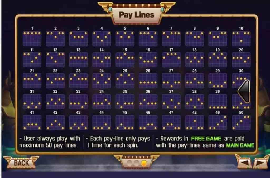 ไลน์ต่างๆในเกม Egypt Queen Jack88