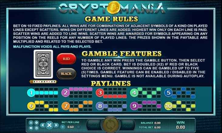 กฎกติกาภายในเกม รีวิวเกม CRYPTOMANIA JACK88